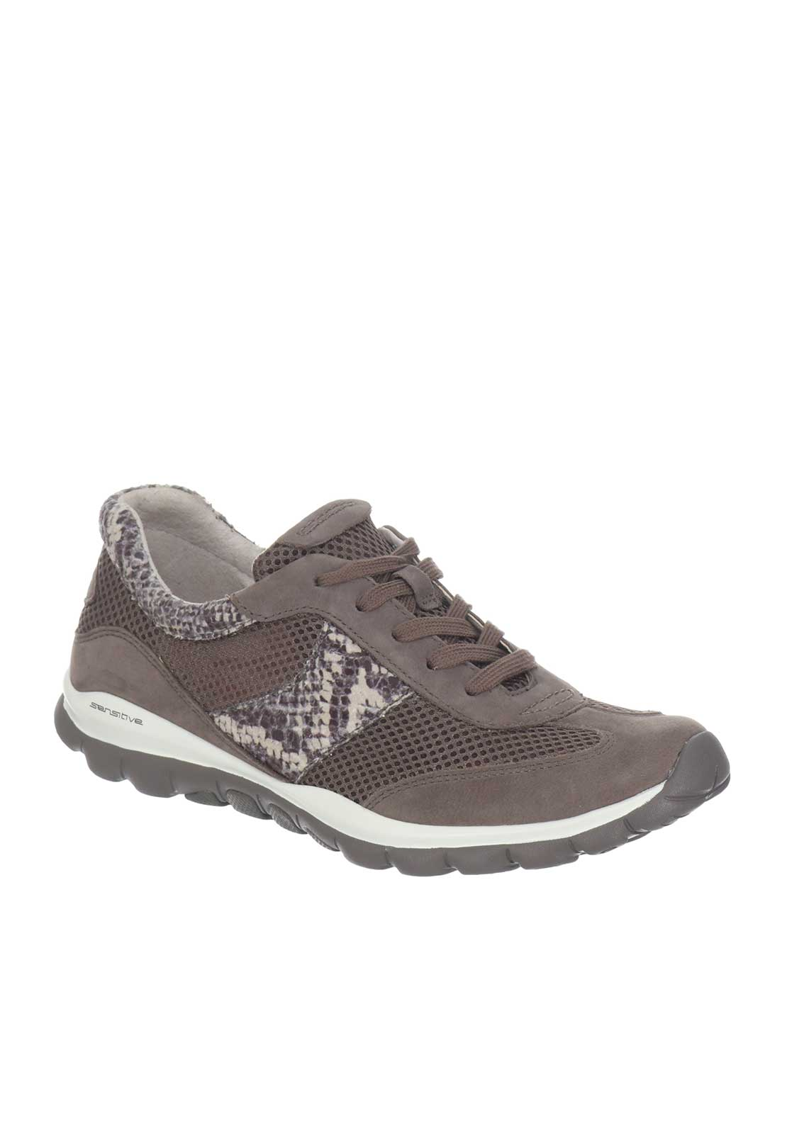 Gabor Soft Rolling Leather Mesh Laced Runners, Brown