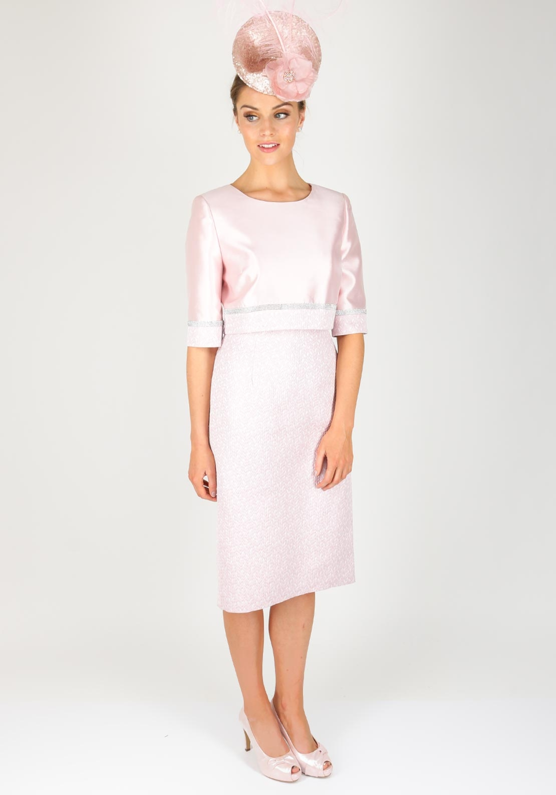 Gabriela Sanchez Embossed Dress & Jacket, Pink