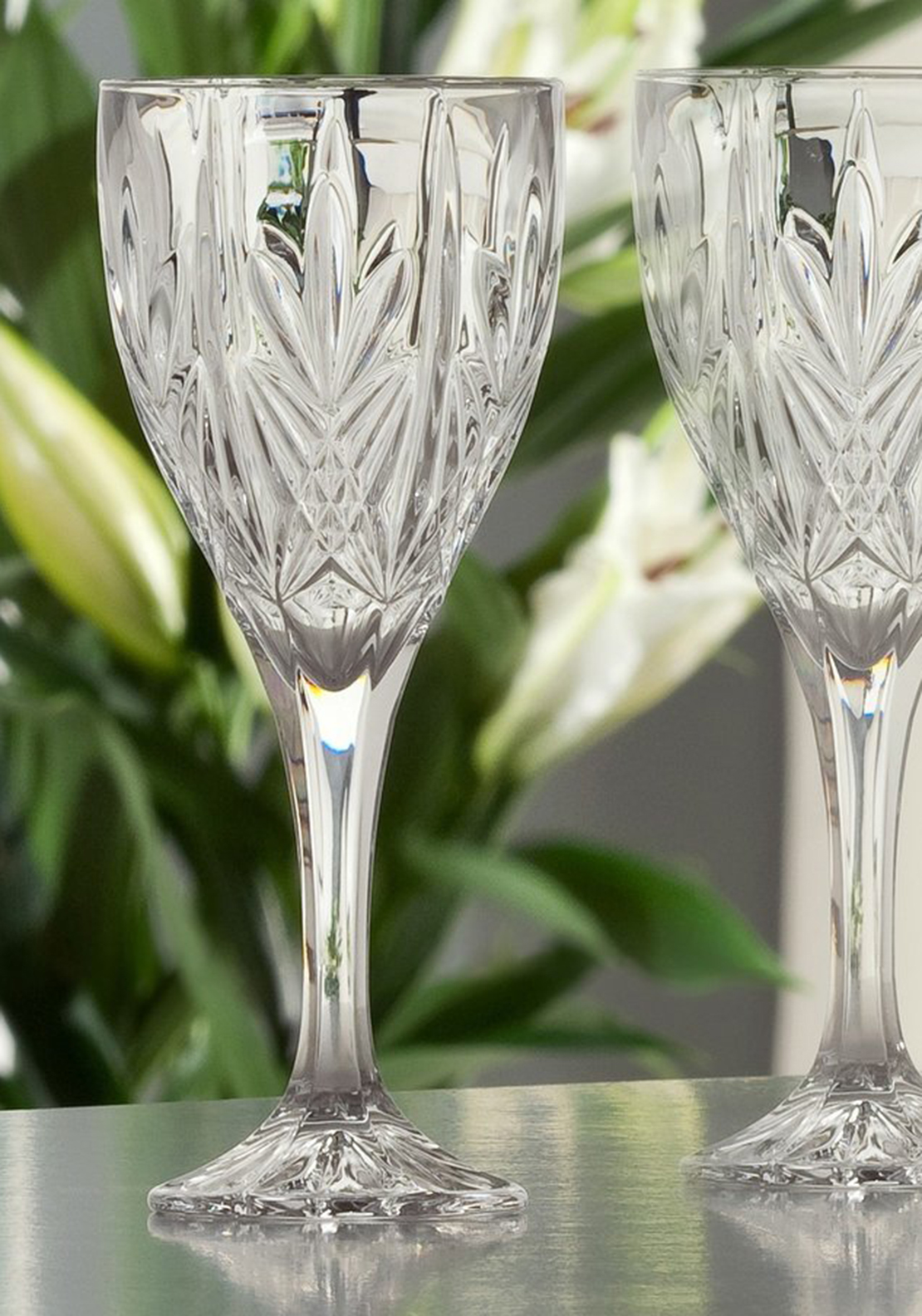 Galway Crystal Abbey Goblet Wine Glasses, Set of 6