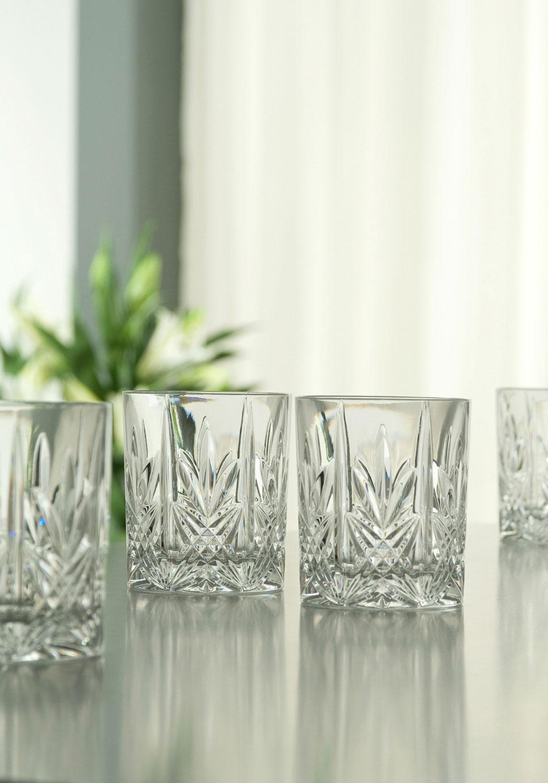 Galway Crystal Abbey Old Fashioned Set of 4 Glass Tumblers