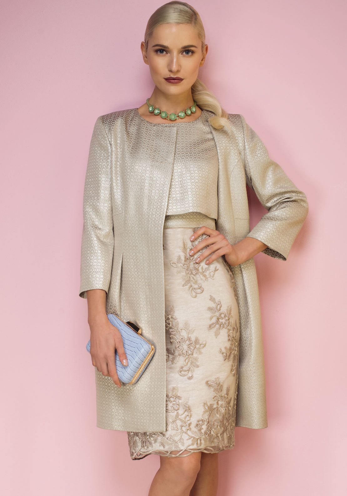 Aideen Bodkin Galax Lace Overlay Dress, Gold