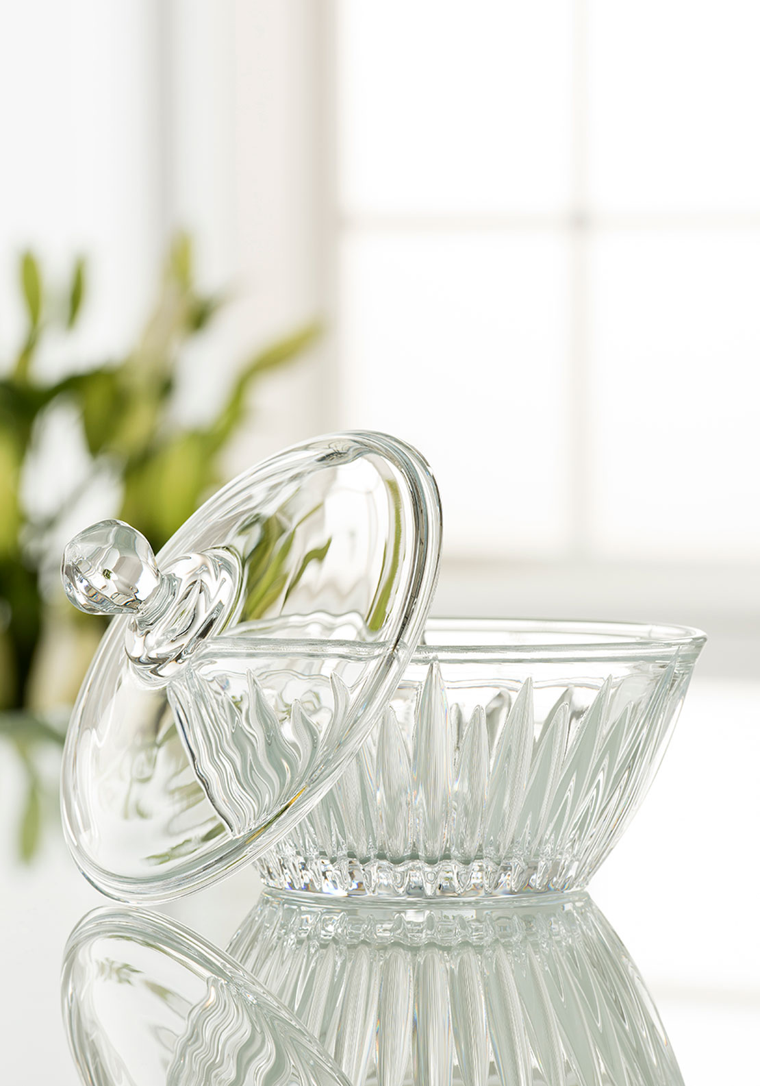 "Galway Crystal Willow 6.5"" Lidded Bowl"