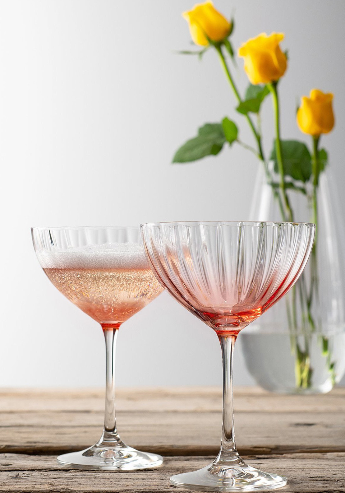 Galway Crystal Erne Cocktail Champagne Saucer Pair Blush Mcelhinneys