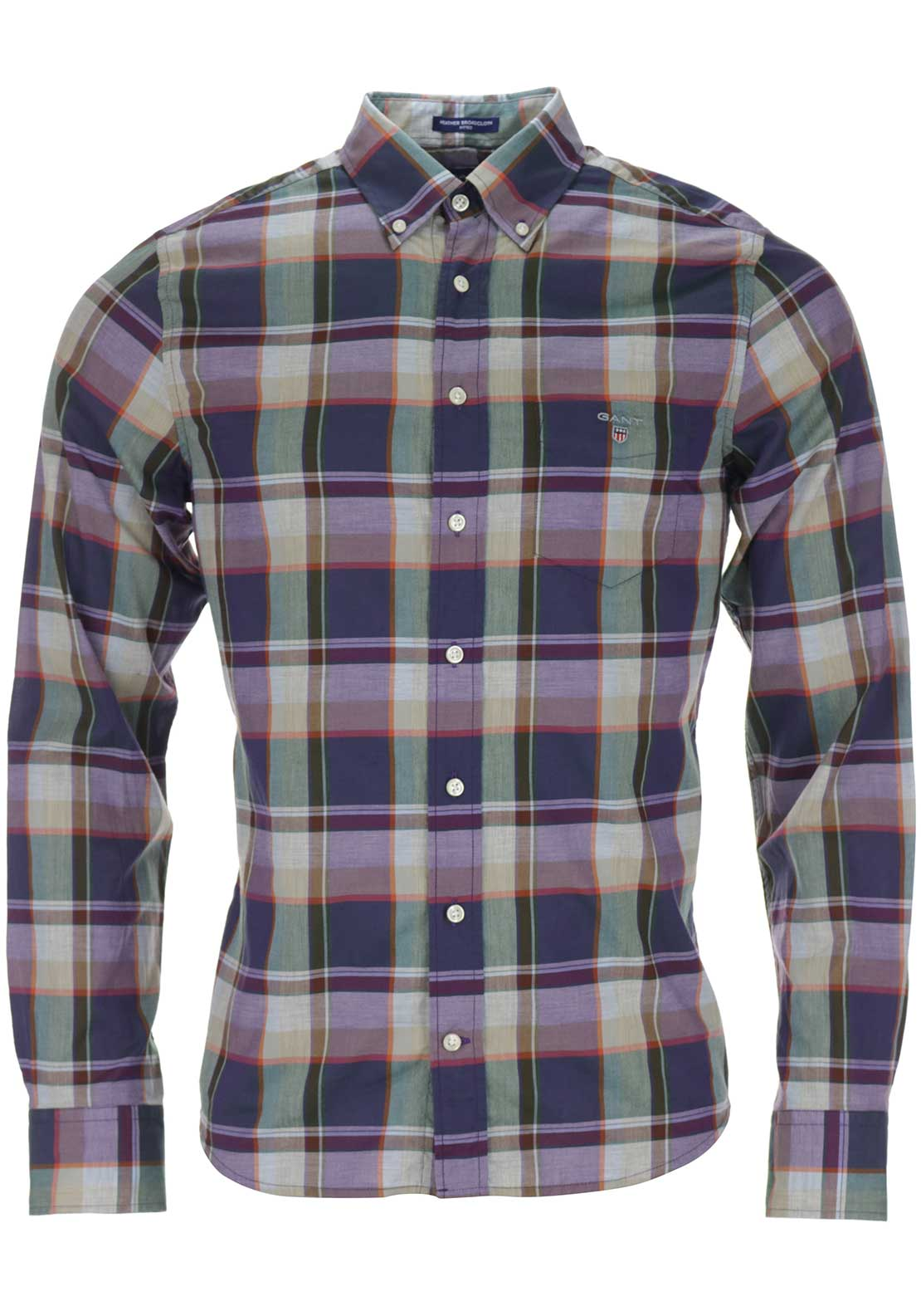 GANT Mens Heather Plaid Broadcloth Checked Shirt, Multi-Coloured