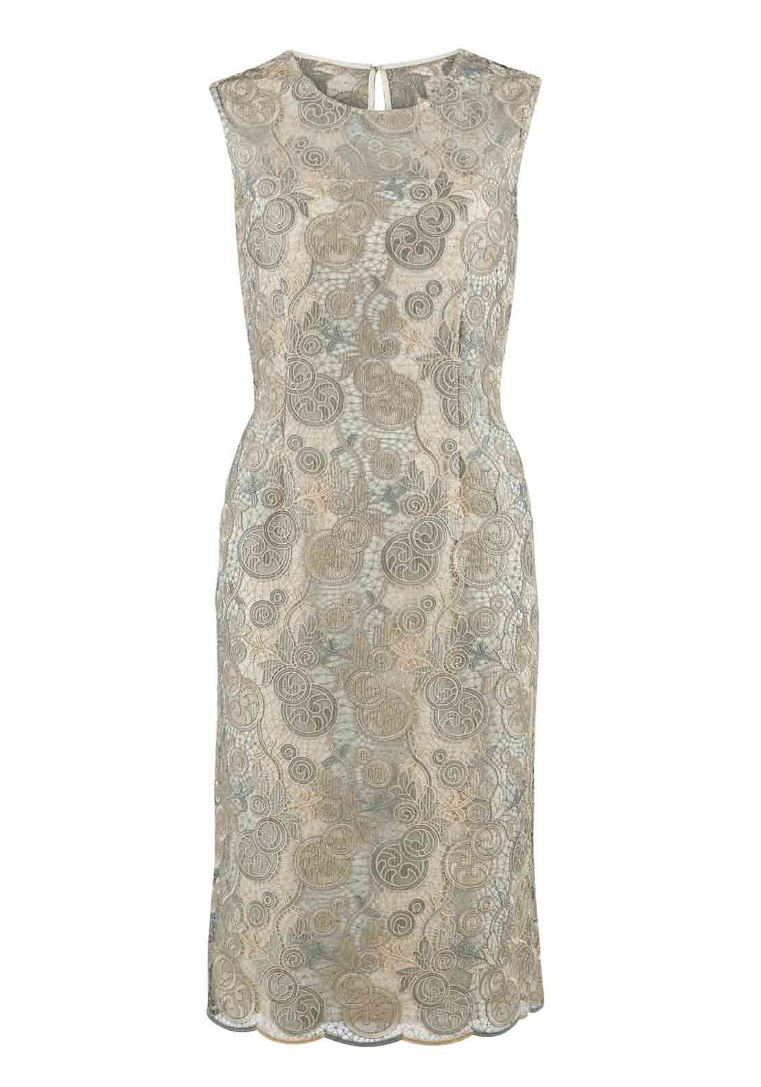 Gina Bacconi Embroidered Lace Overlay Pencil Dress, Champagne and Silver