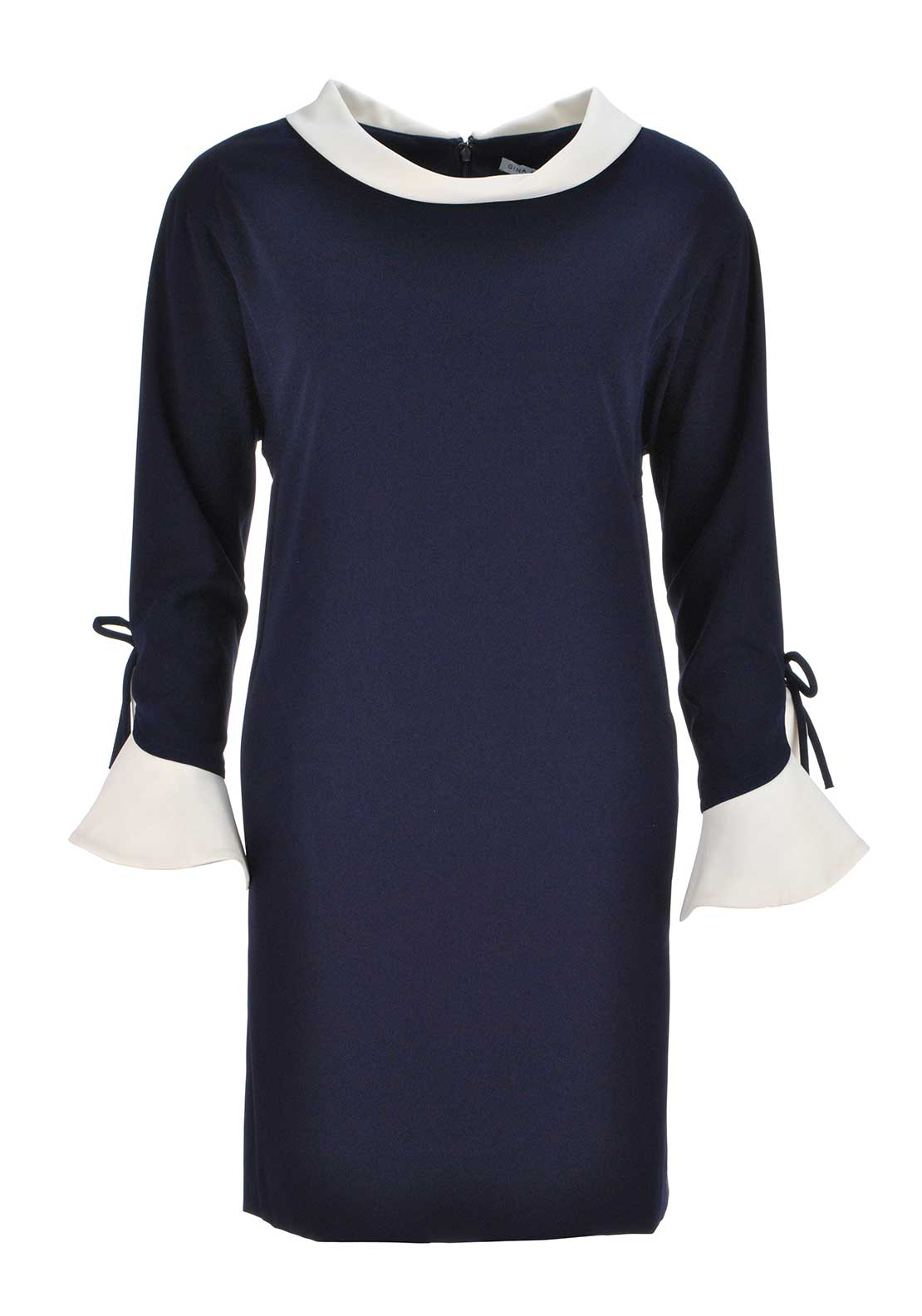 Gina Bacconi Cropped Sleeve Tunic Dress, Navy & White