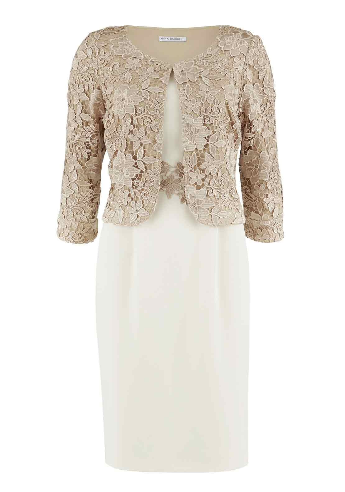 Gina Bacconi Sleeveless Crepe Dress and Guipure Lace Jacket, Ivory
