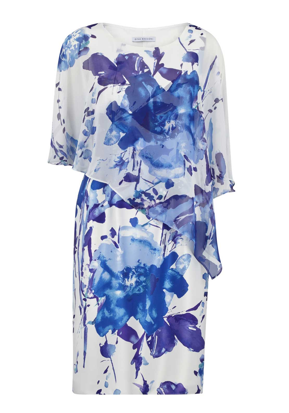 Gina Bacconi Floral Print Dress, Navy and White