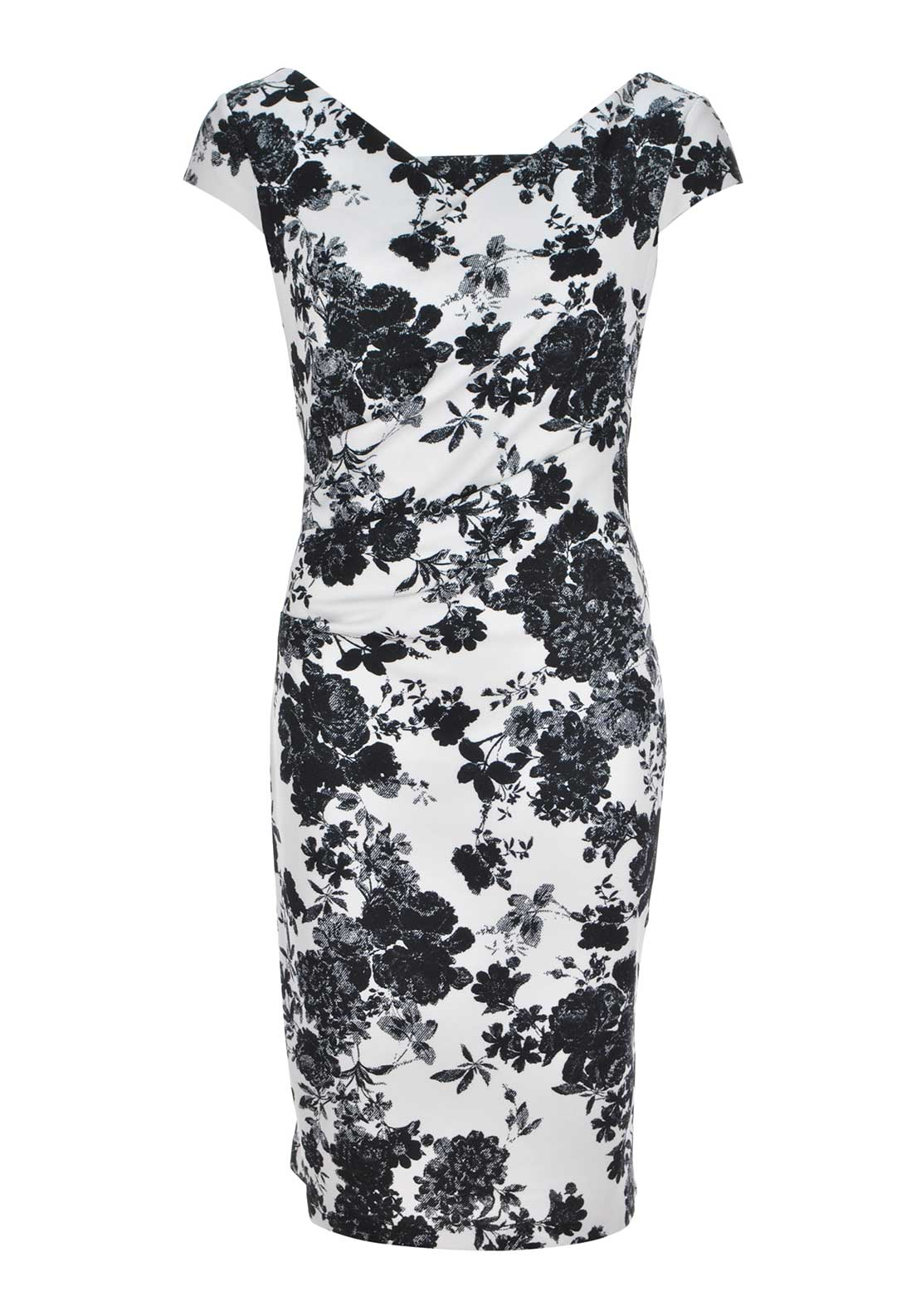 Gina Bacconi Floral Print Jersey Pencil Dress, White and Black