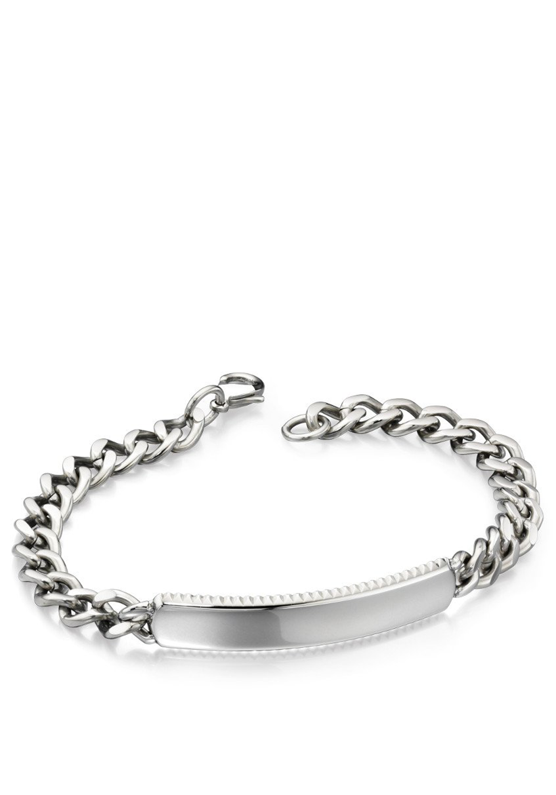 Fred Bennett Stainless Steel Id Bracelet for Men, Silver
