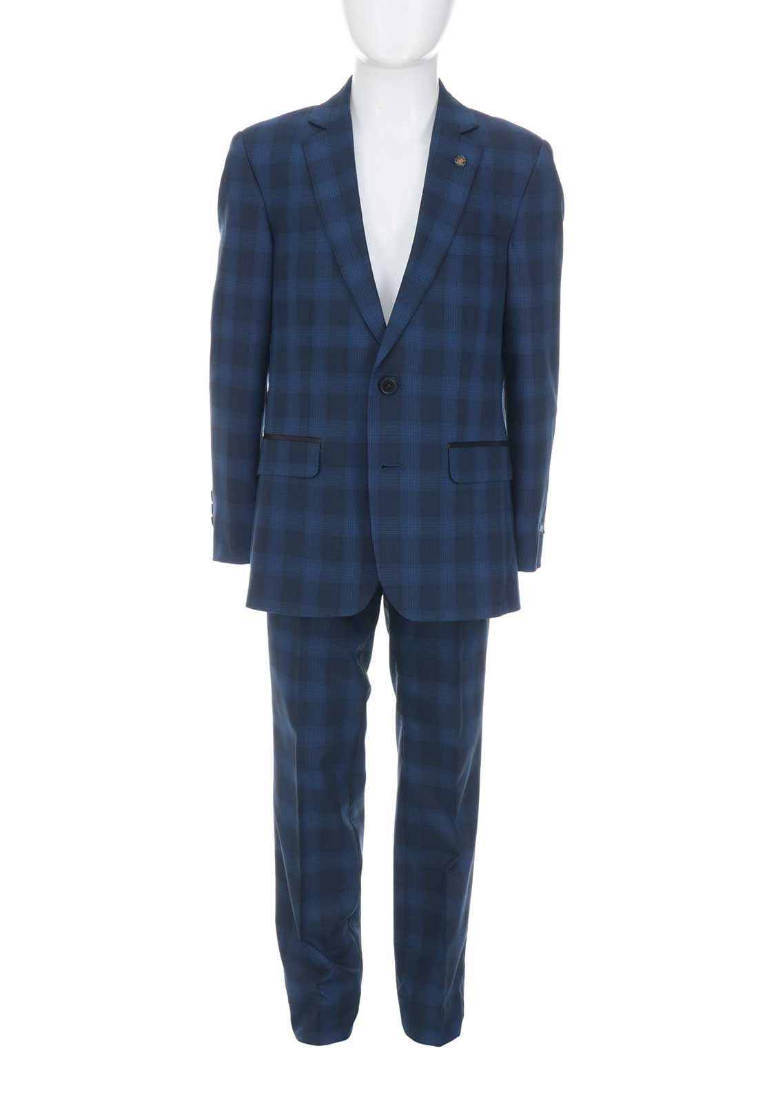 1880 Club Boys Chequered Two Piece Suit, Blue