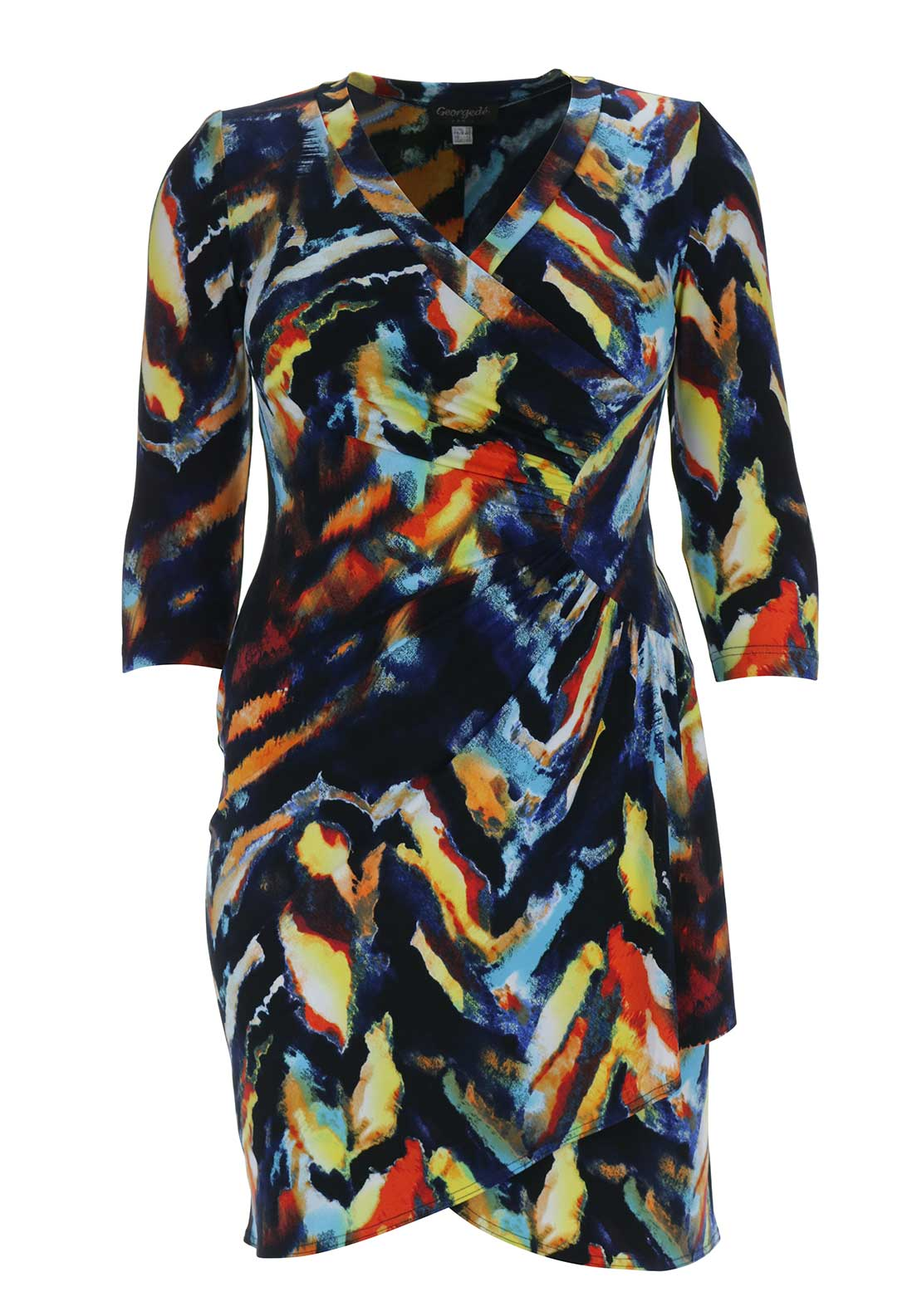 Georgede Abstract Print Wrap Dress, Navy Multi