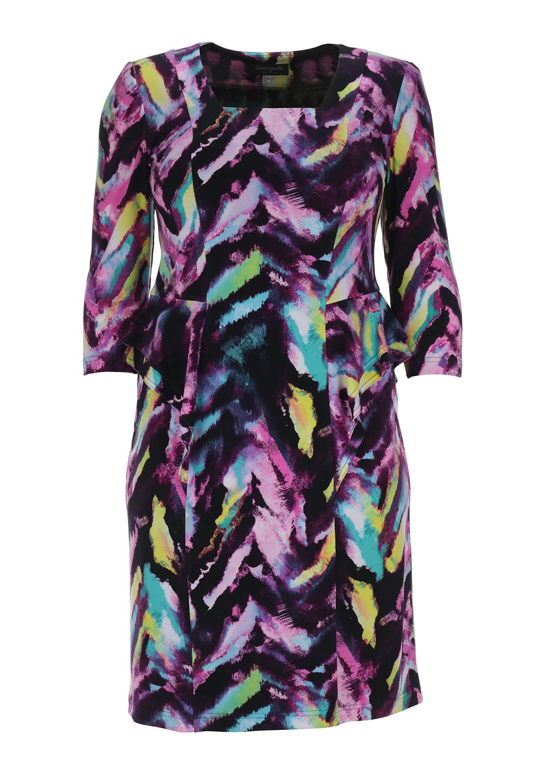 Georgede Abstract Print Jersey Dress, Purple Multi