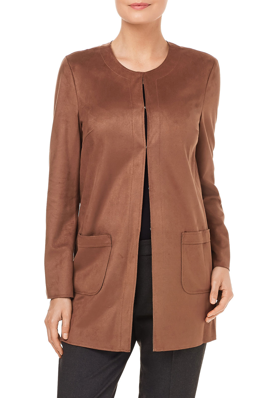 Gerry Weber Faux Suede Coat, Brown