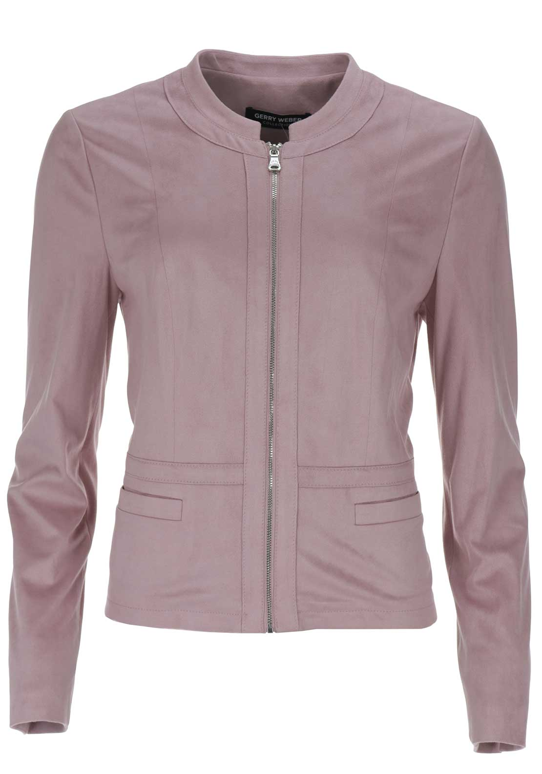 Gerry Weber Faux Suede Bomber Jacket, Pink