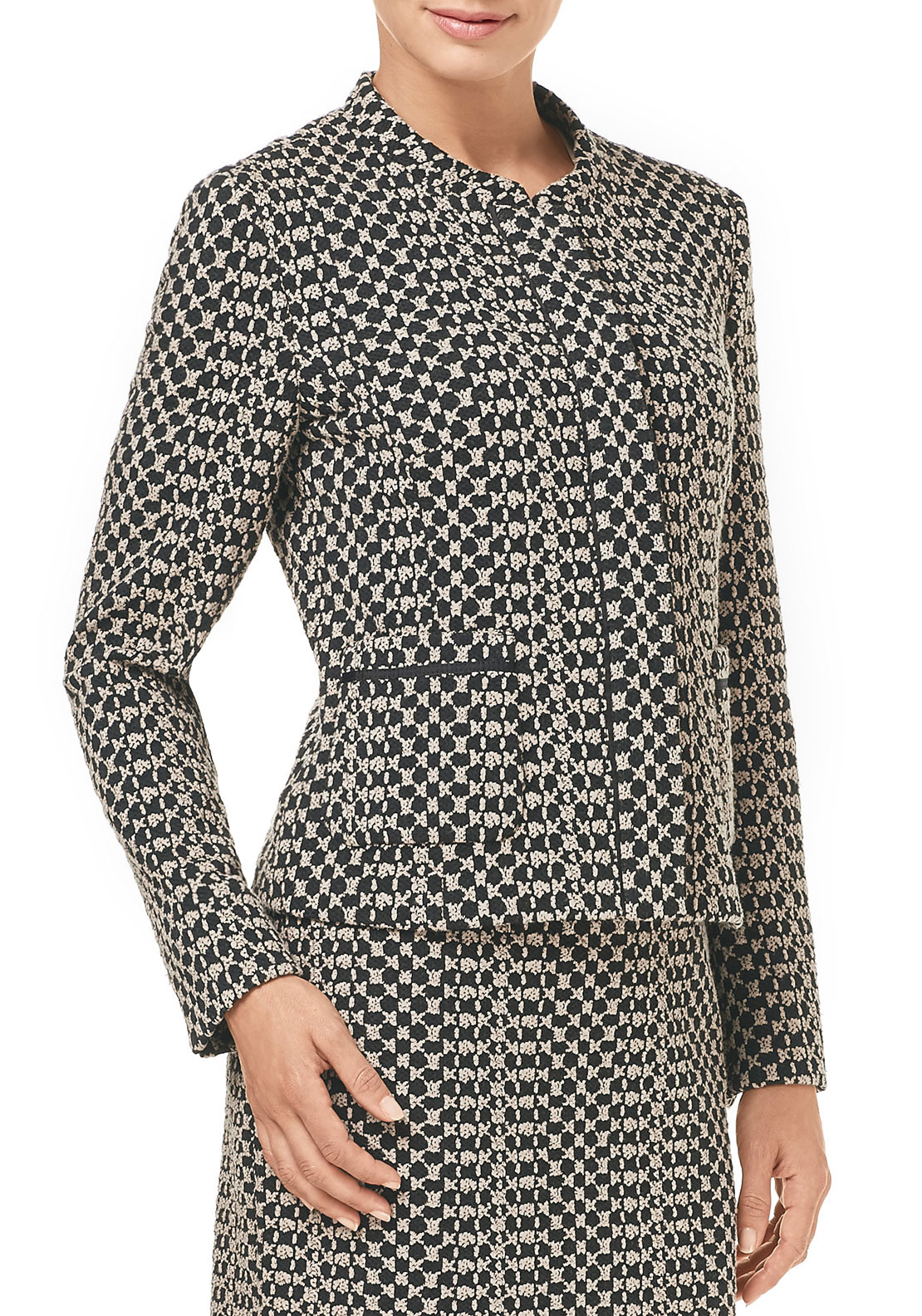 Gerry Weber Woven Jersey Jacket, Black & Tan