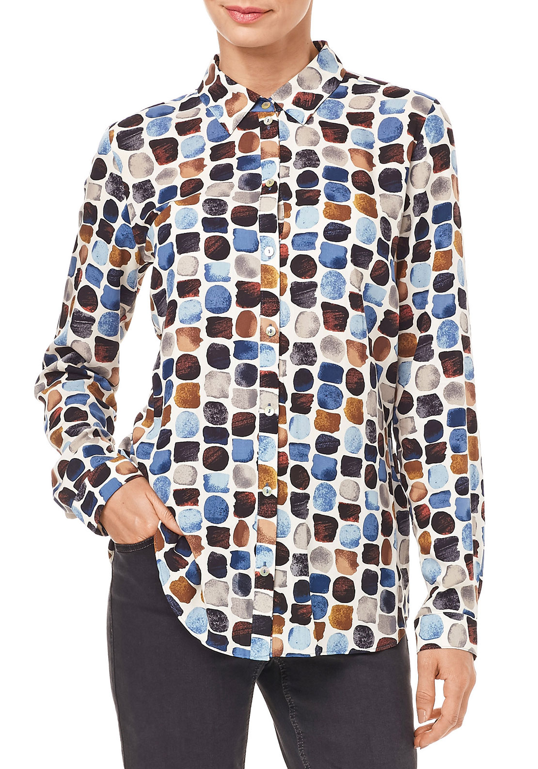 Gerry Weber Printed Long Sleeve Blouse, Multi-Coloured