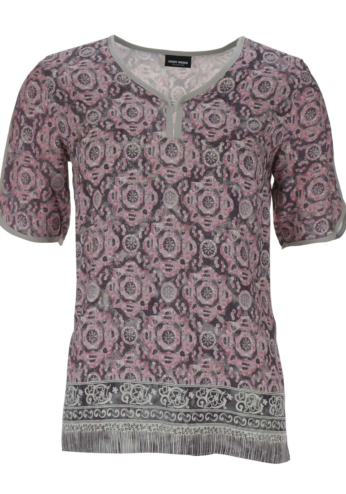 Gerry Weber Ethnic Print Short Sleeve Top, Pink Multi