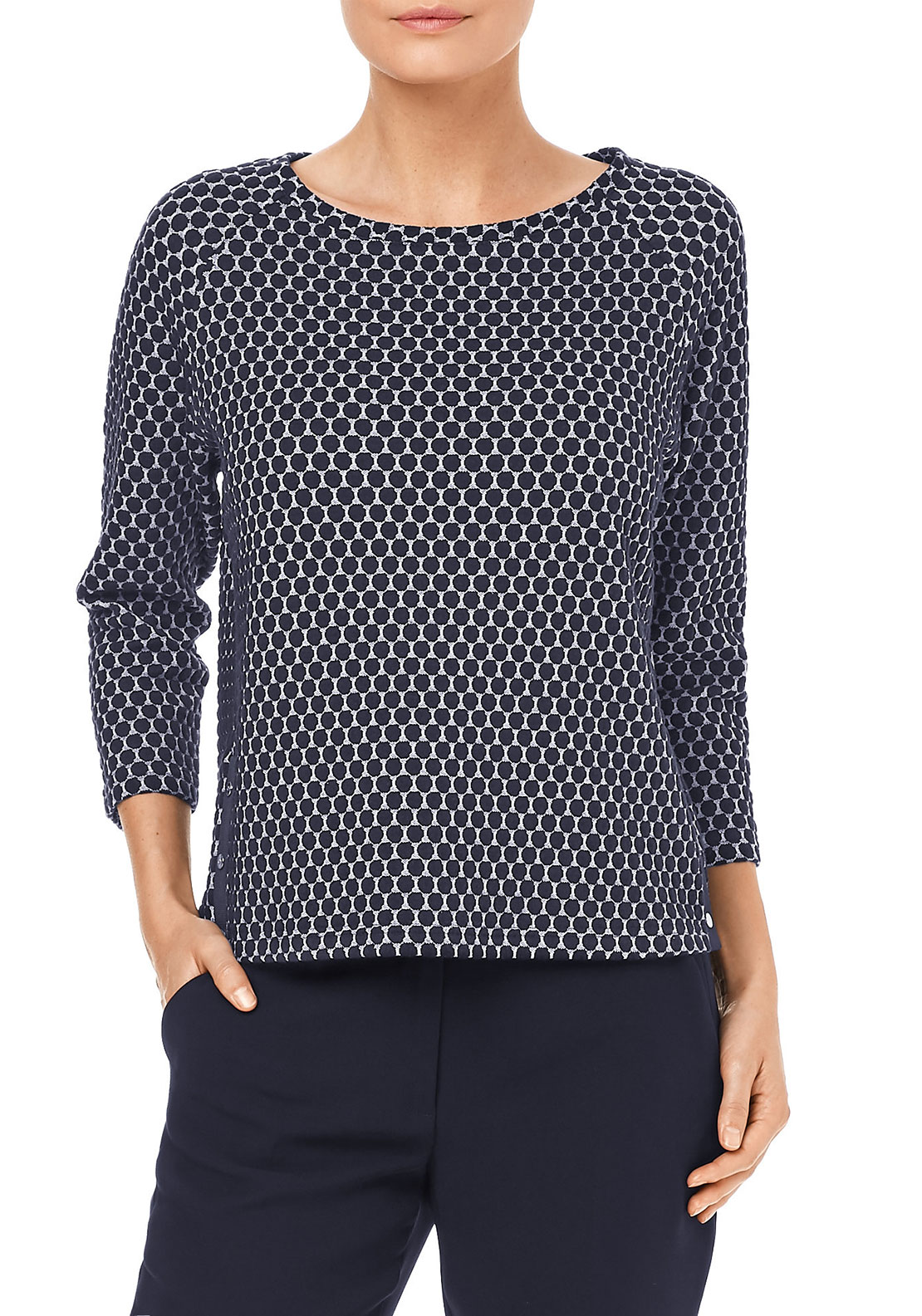 Gerry Weber Circle Print Woven Top, Navy