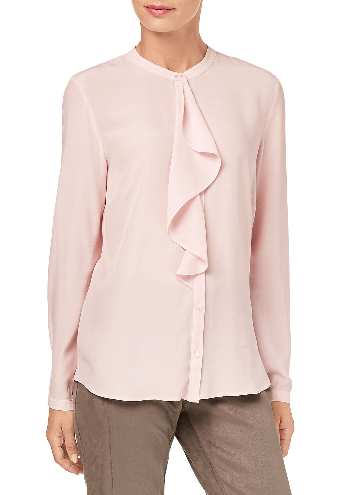 Gerry Weber Ruffle Trim Blouse, Pale Pink