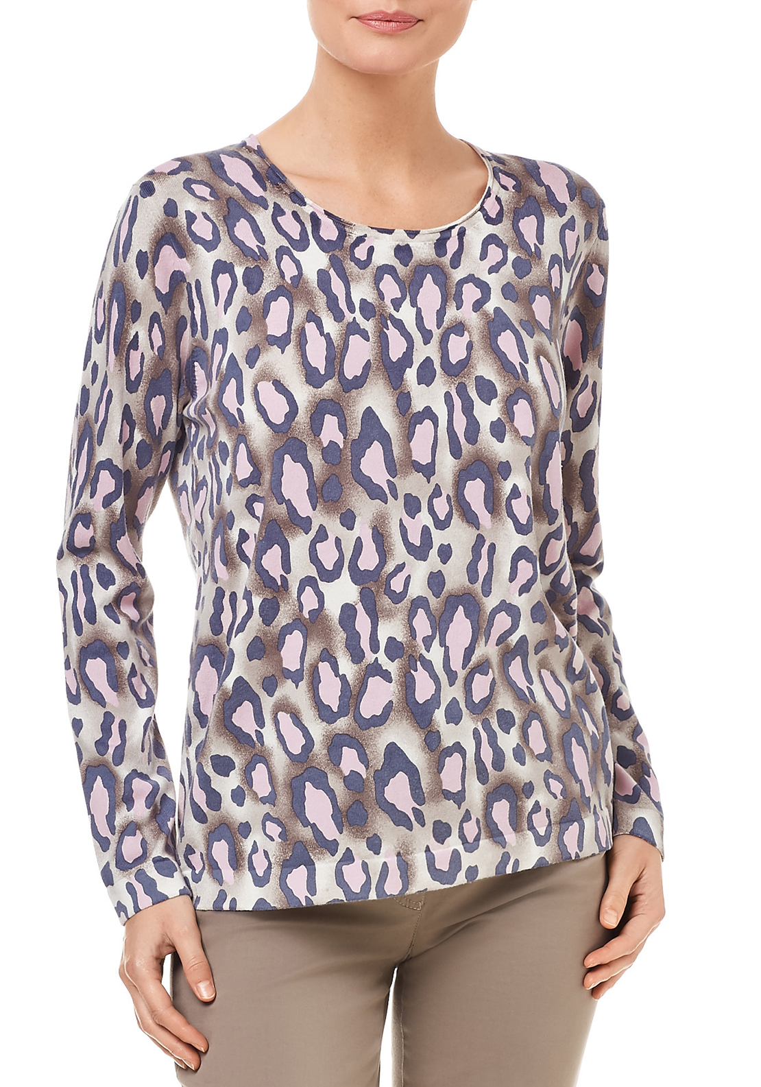 Gerry Weber Animal Pattern Fine Knit Jumper, Multi-coloured