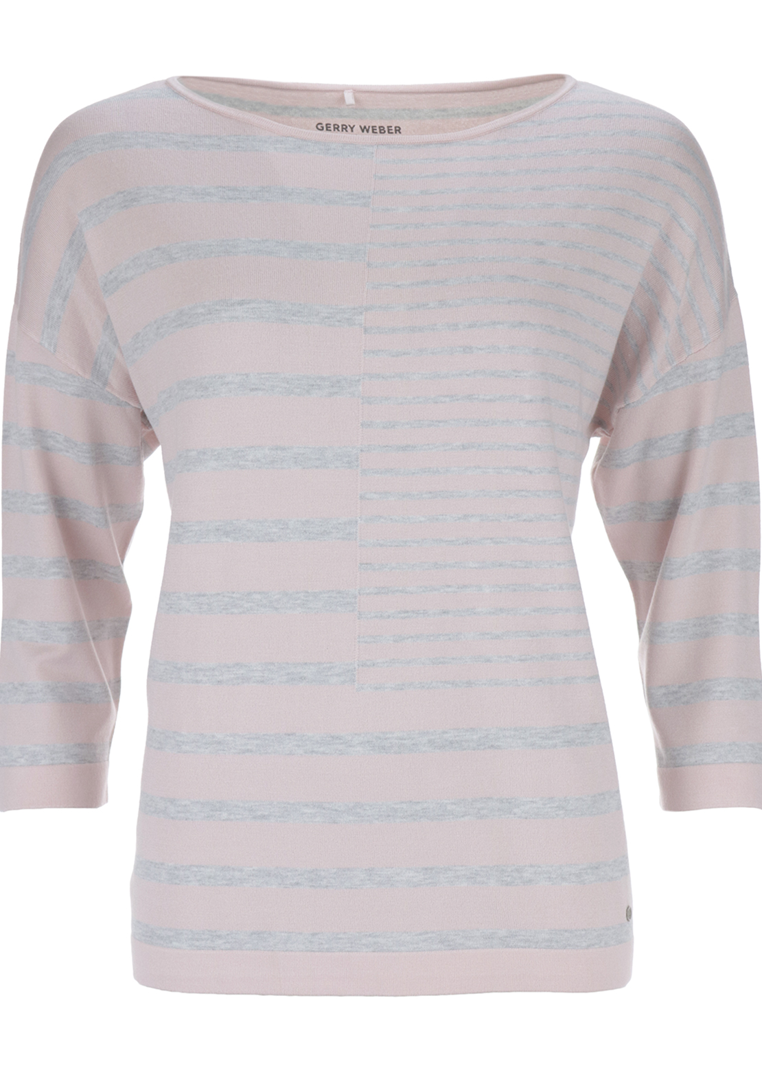 Gerry Weber Loose Fitting Knitwear Jumper with Panelled Stripes, Pink and Grey