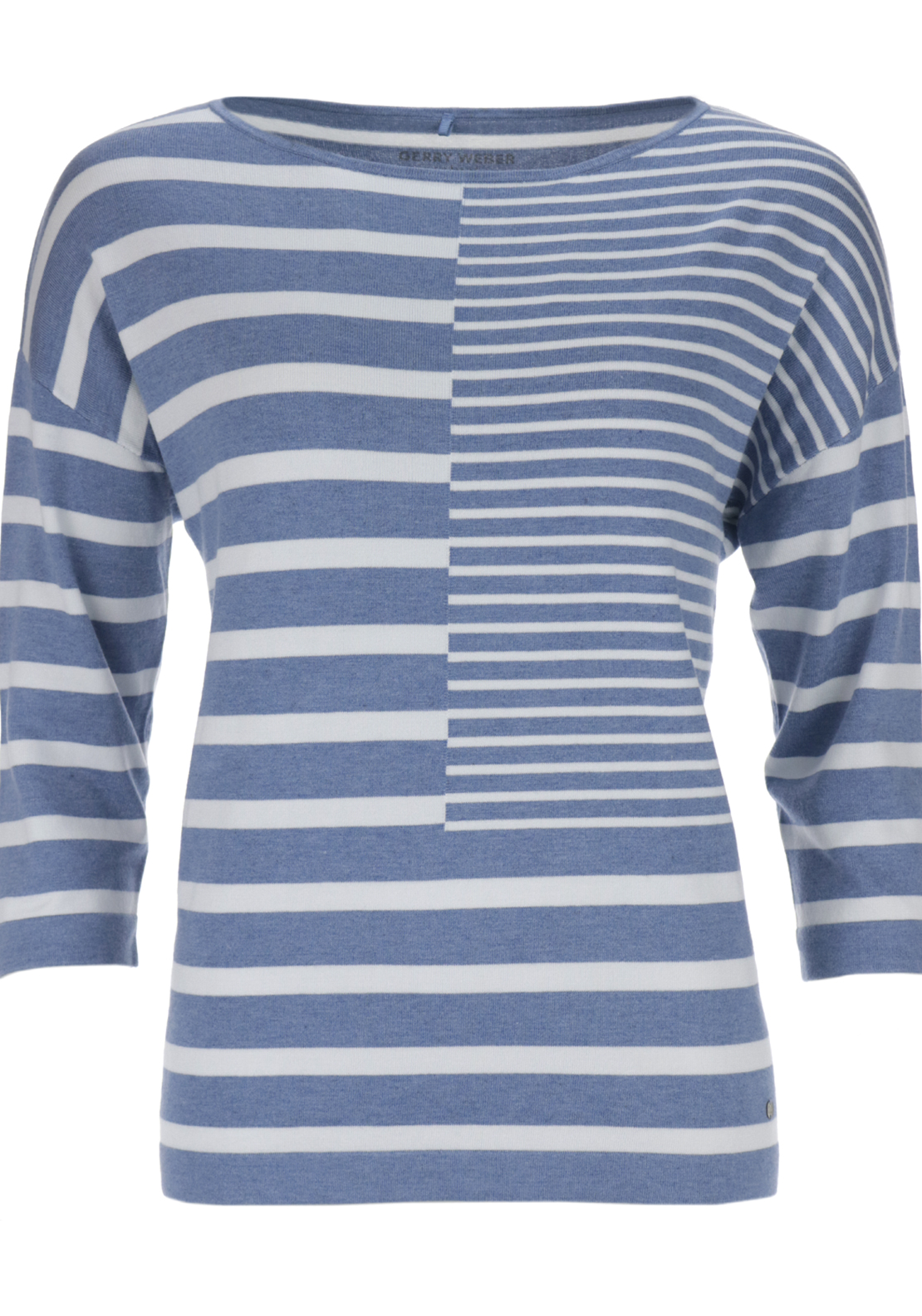 Gerry Weber Knitwear Jumper with Panelled Stripes, Blue and White