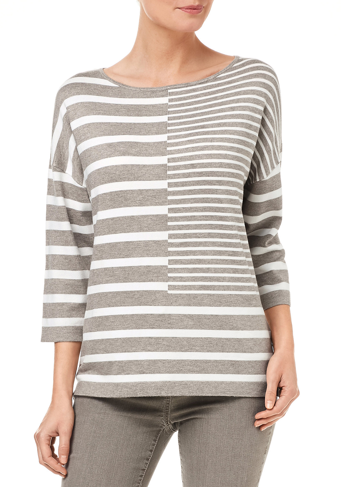 Gerry Weber Loose Fitting Knitwear Jumper with Panelled Stripes, Brown and White