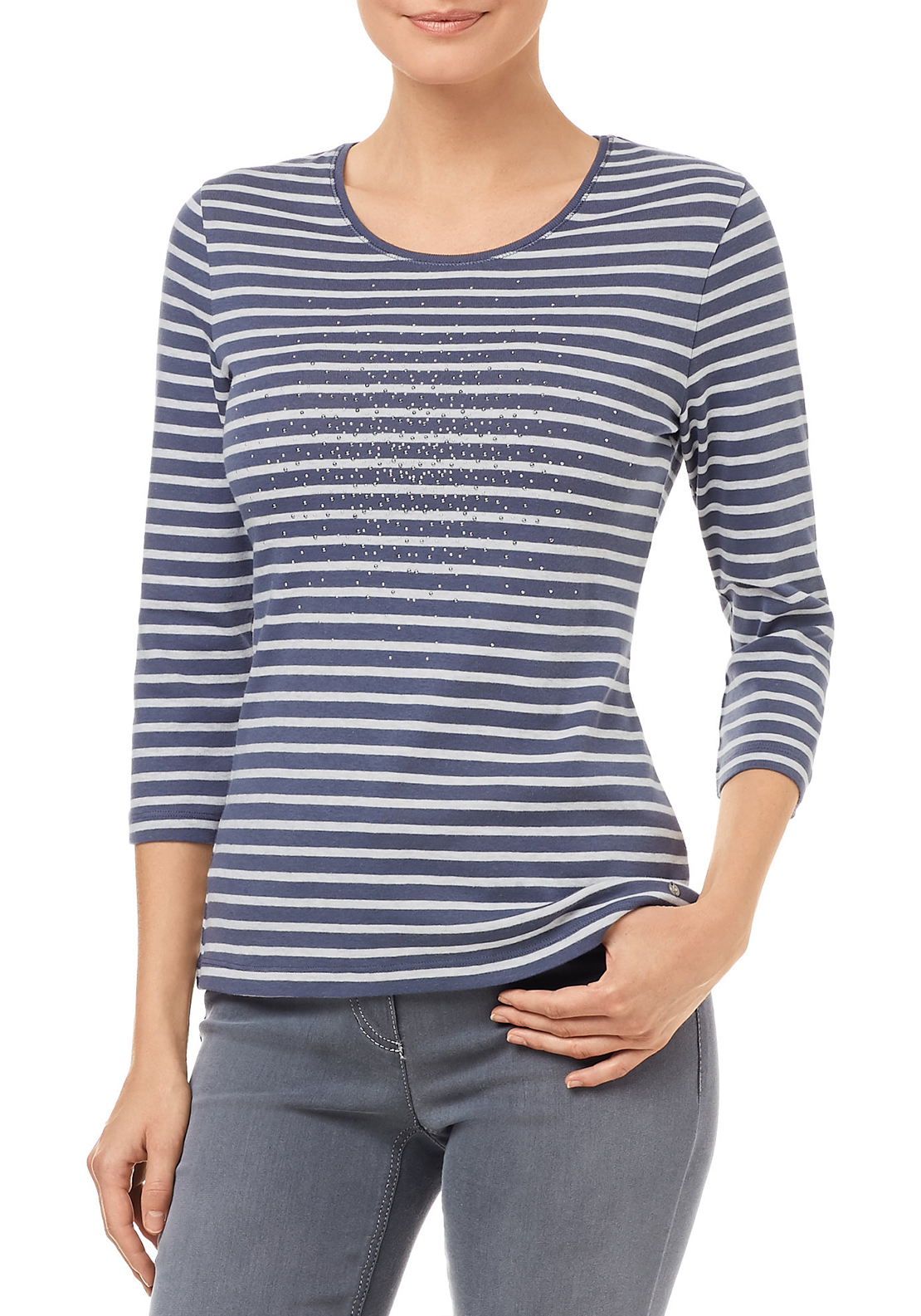 Gerry Weber Cotton Striped Top with Studded Design, Blue And Grey