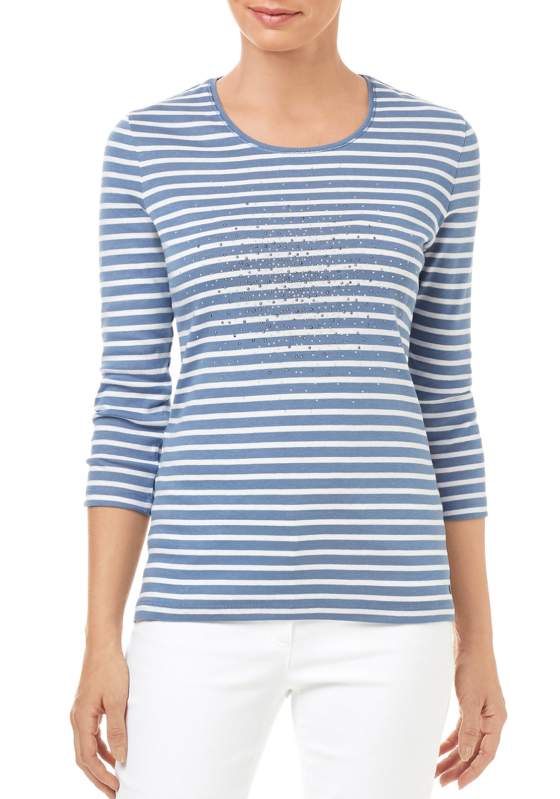 Gerry Weber Cotton Striped Top with Studded Design, Blue & White