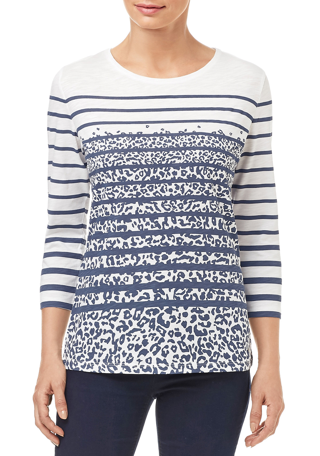 Gerry Weber Striped & Animal Printed Top, Multi-coloured