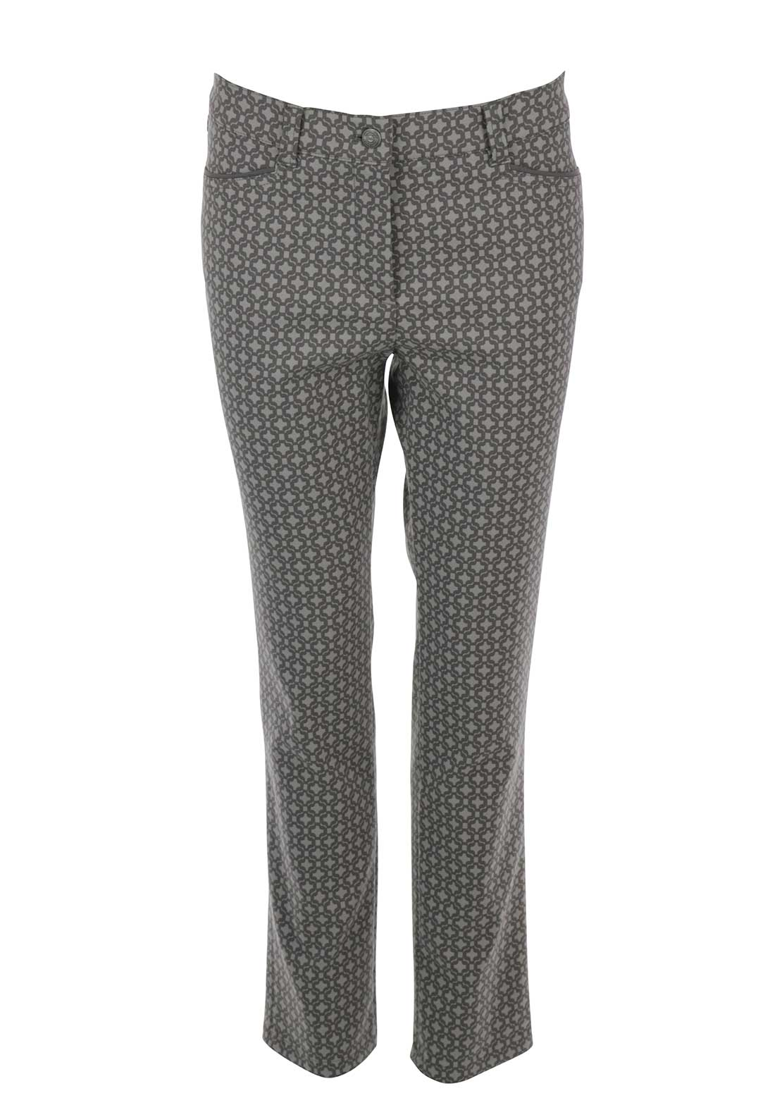 Gerry Weber Romy Geometric Printed Slim Leg Trousers, Regular Length Mocha