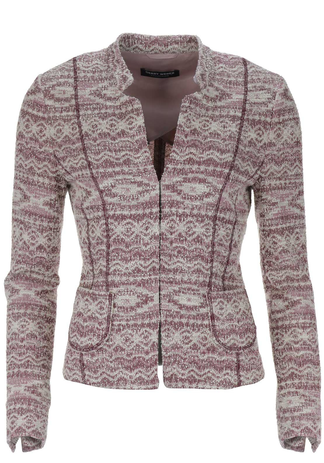 Gerry Weber Cotton Rich Boucle Jacket, Wine Multi