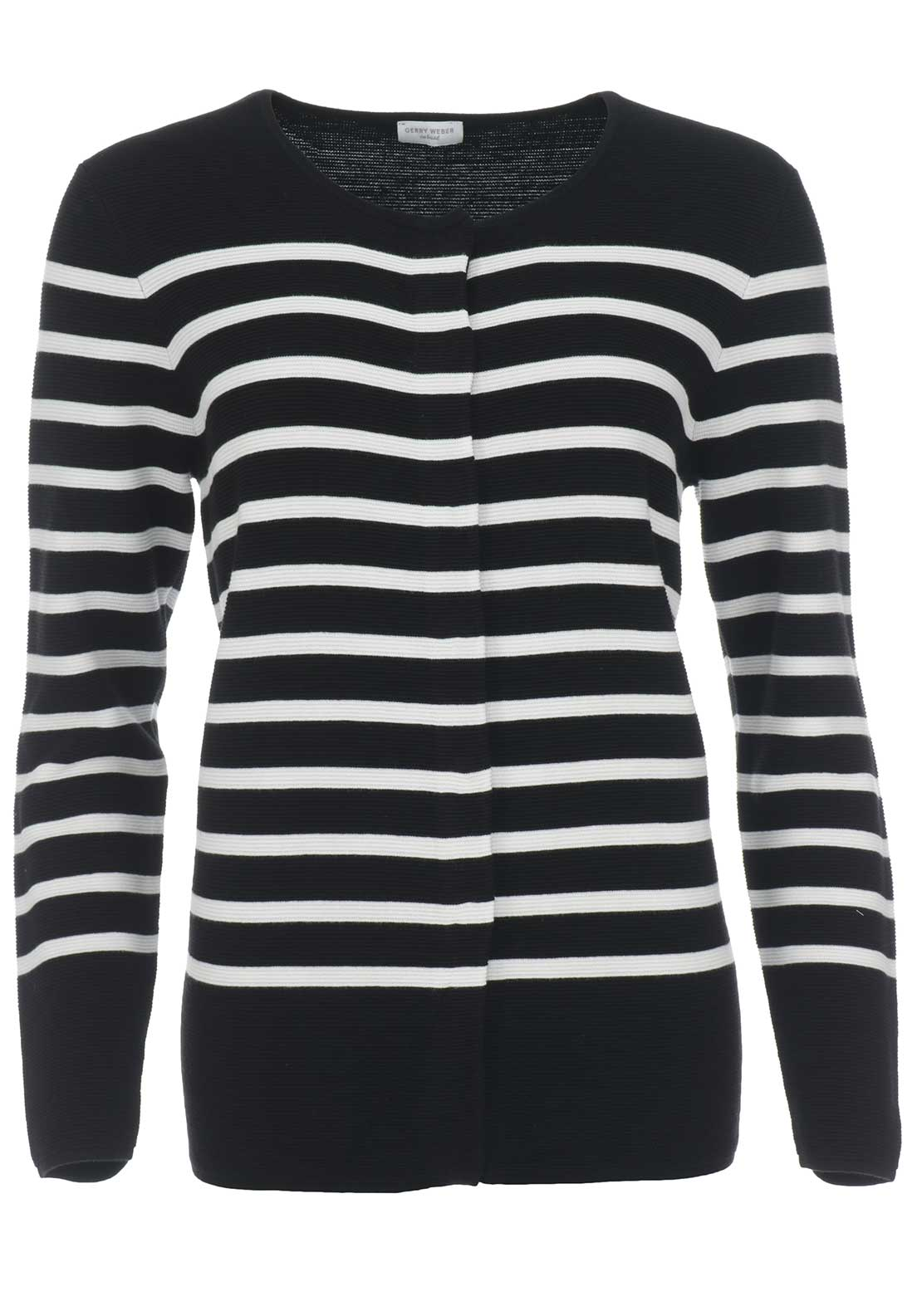 Gerry Weber Striped Ribbed Cardigan, Black & White