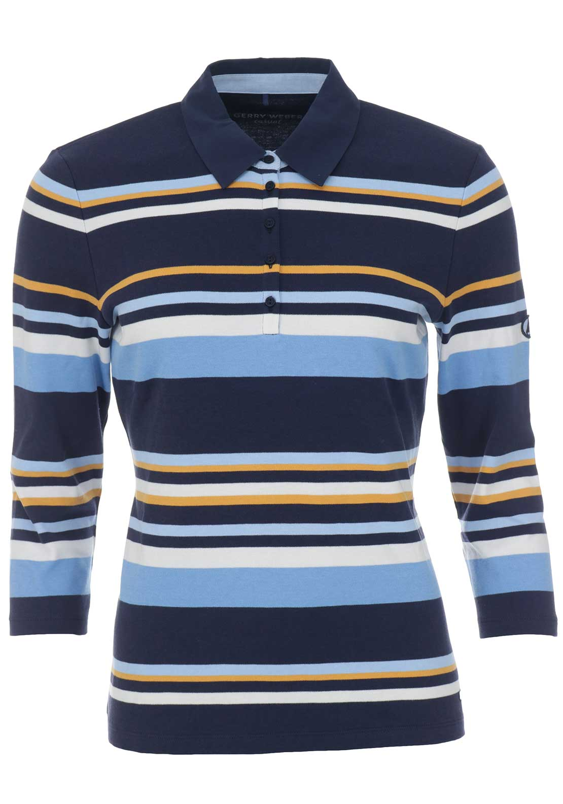 Gerry Weber Striped Polo Shirt, Navy Multi