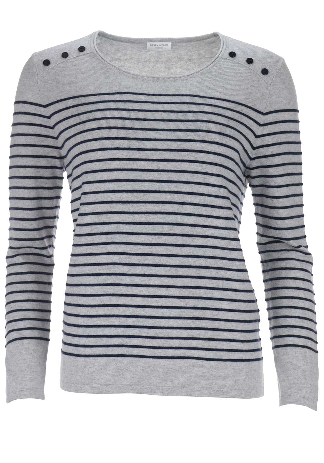Gerry Weber Button Detail Striped Jumper, Grey
