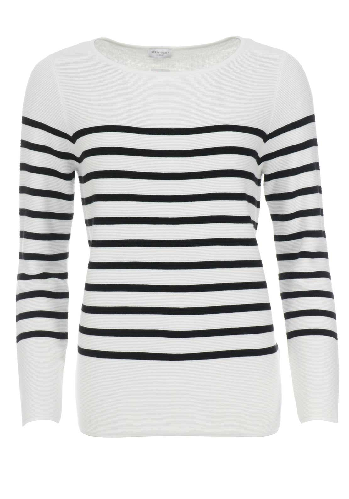 Gerry Weber Striped Rib Knit Jumper, White & Black