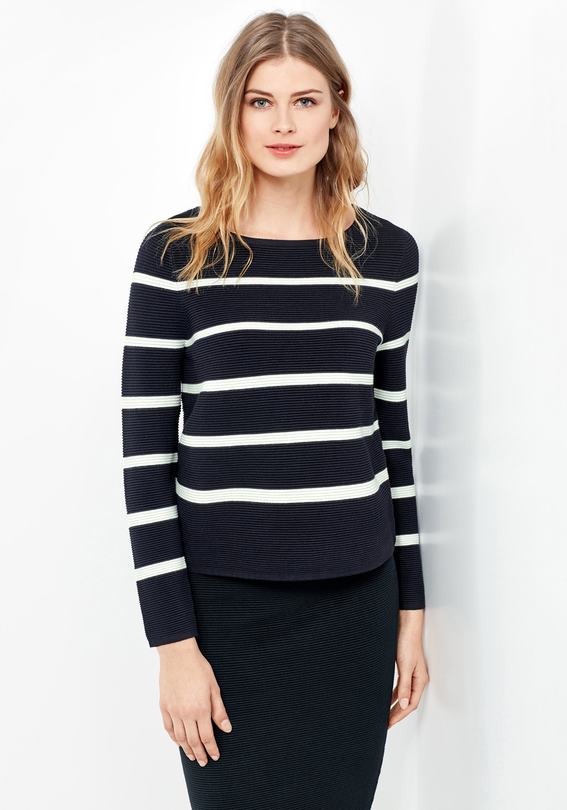 Gerry Weber Striped Ribbed Jumper, Navy & White