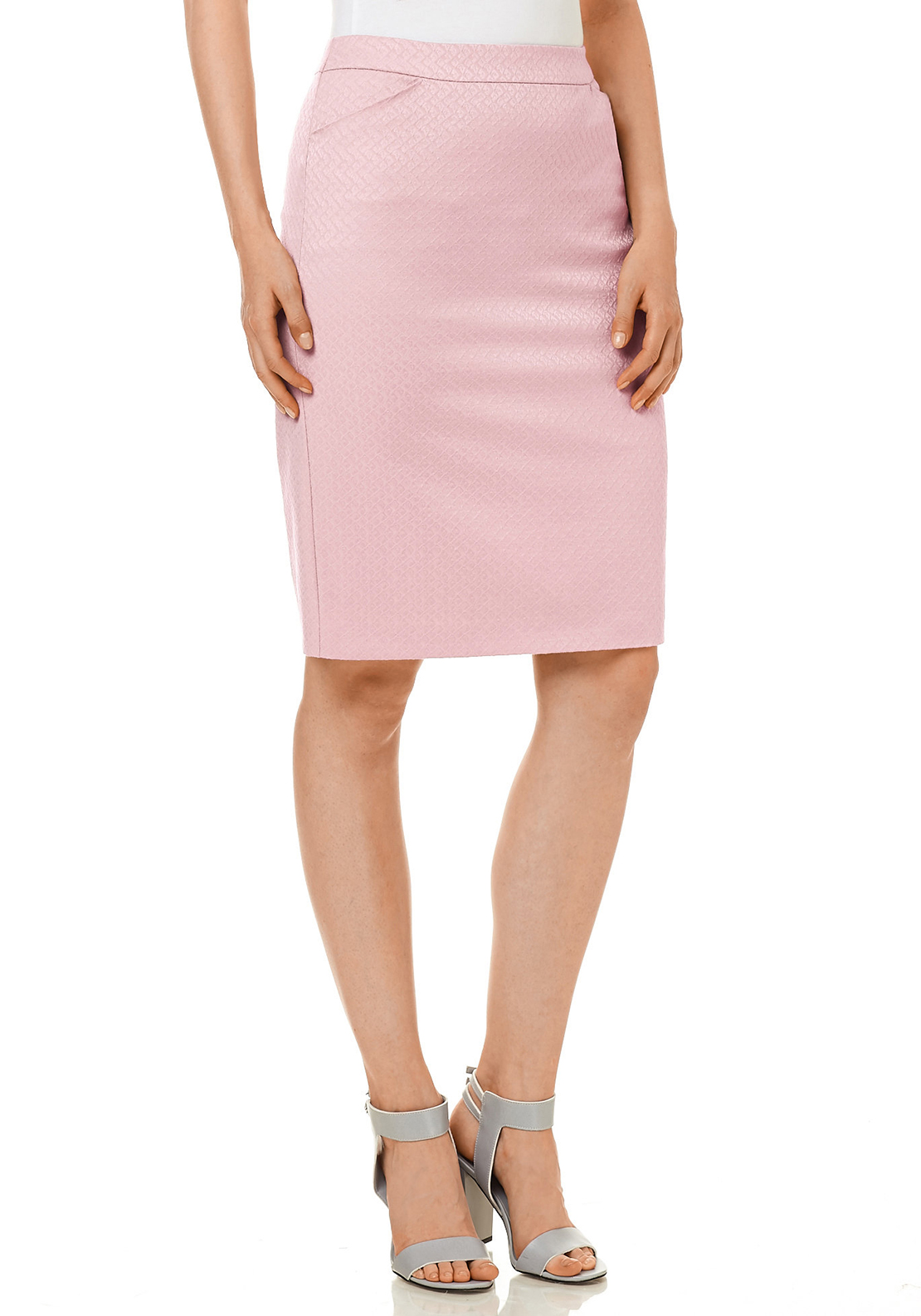 Gerry Weber Embossed Diamond Print Pencil Skirt, Pink