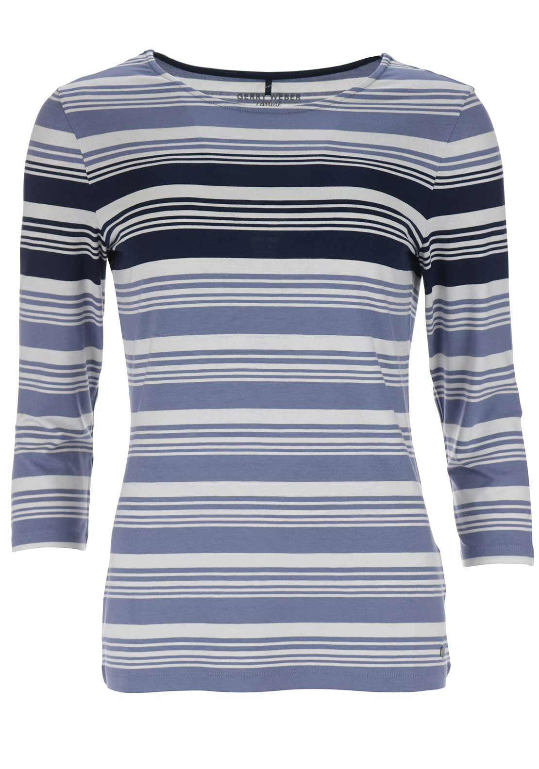 Gerry Weber Striped Cropped Sleeve Top, Blue
