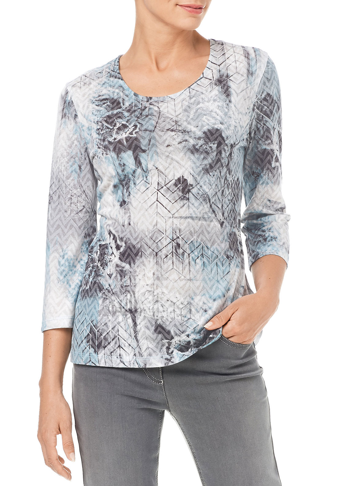 Gerry Weber Abstract Print Top, Pale Blue