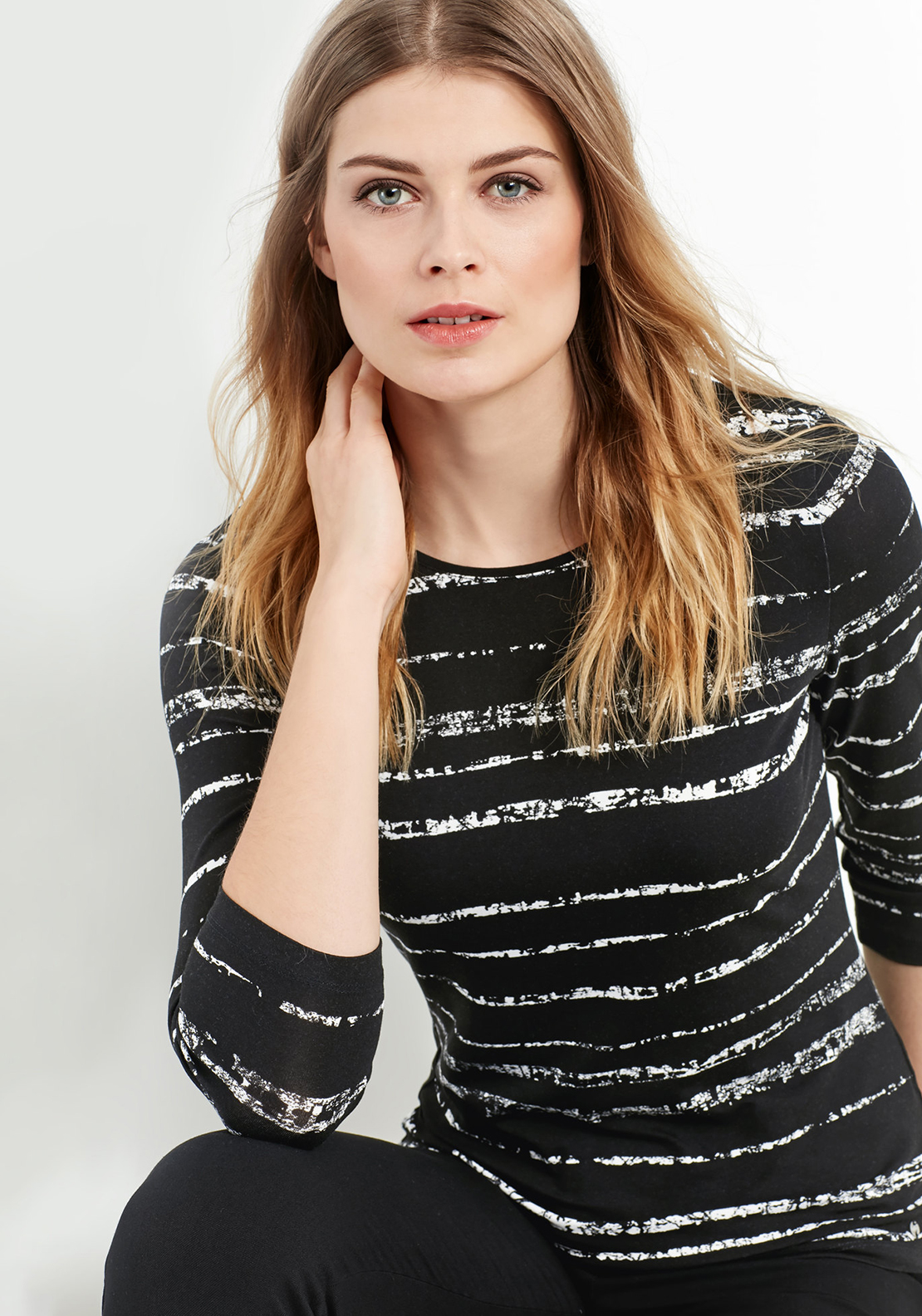 Gerry Weber Brushstroke Print Top, Black & White