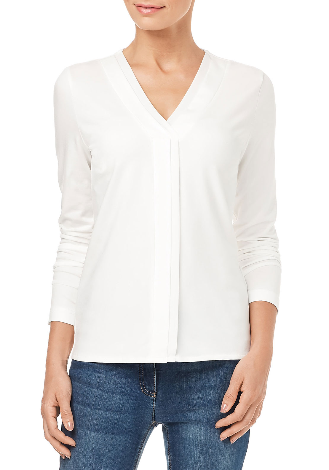 Gerry Weber V-Neck Long Sleeve Top, White