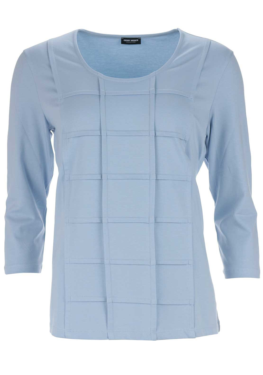 Gerry Weber Embossed Grid Print Top, Pale Blue