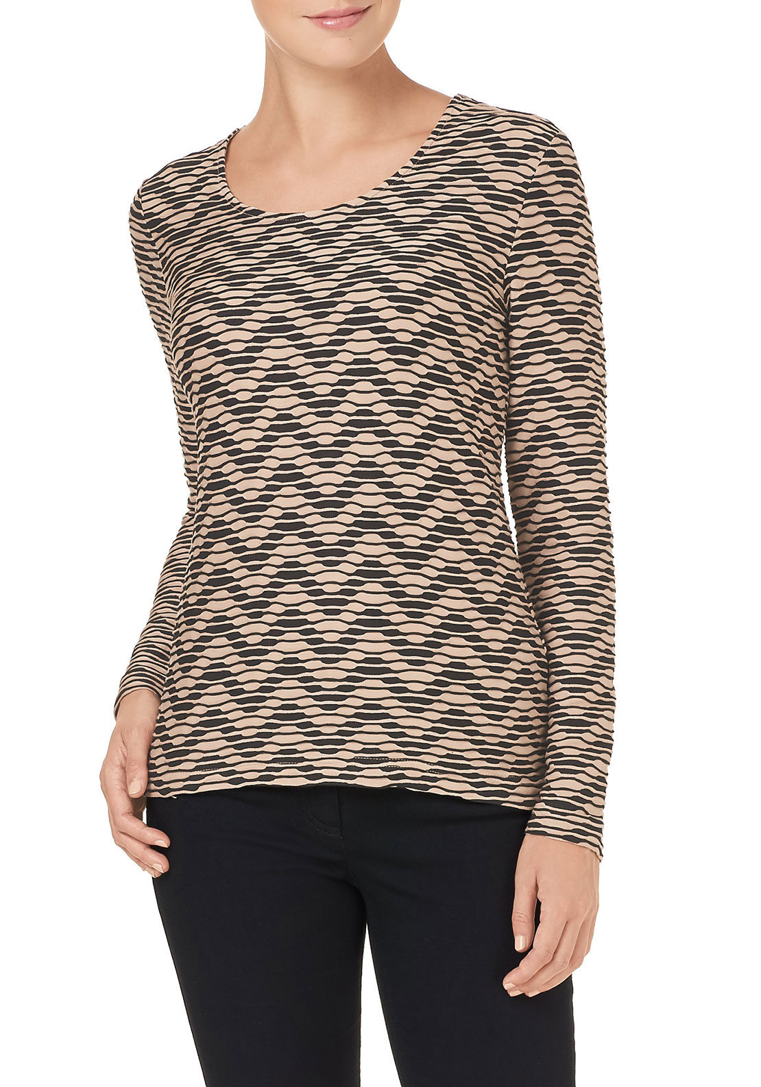 Gerry Weber Textured Print Top, Beige & Black