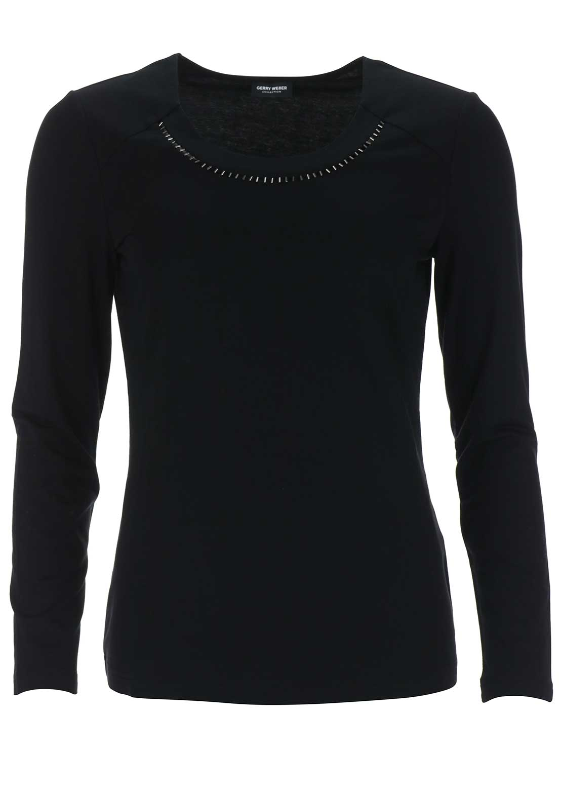 Gerry Weber Sheer Trim Long Sleeve Top, Black