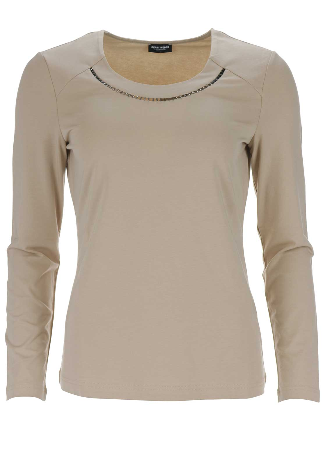 Gerry Weber Sheer Trim Long Sleeve Top, Beige