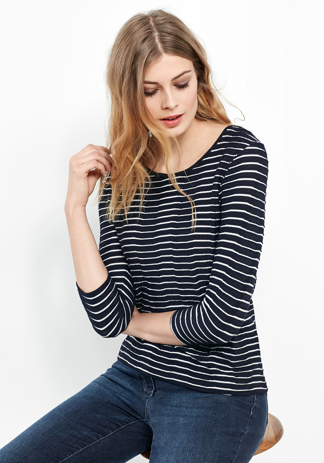 Gerry Weber Textured Striped Top, Navy & White