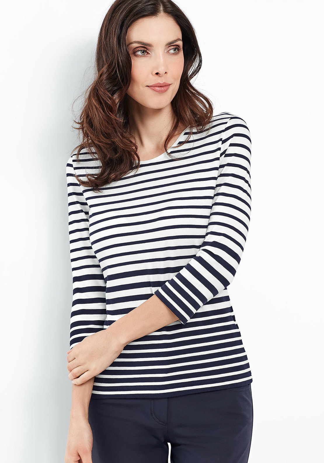 Gerry Weber Striped Cropped Sleeve Top, White & Navy