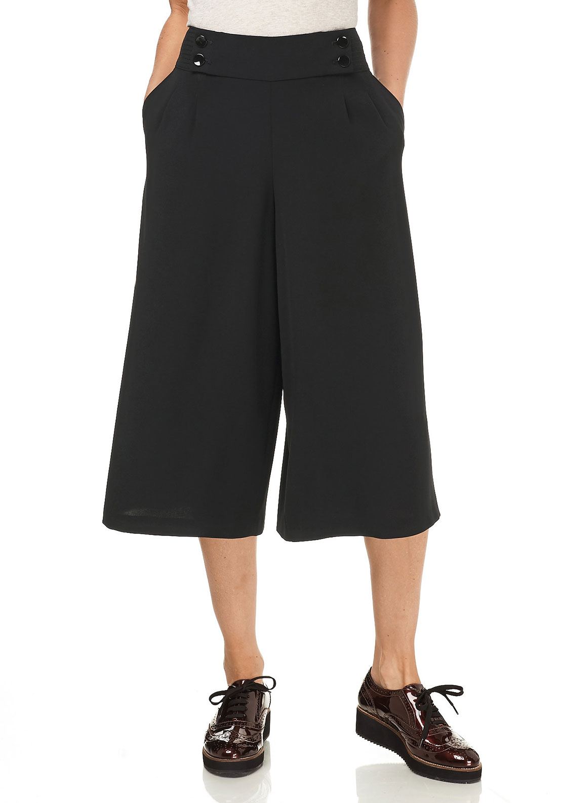 Gerry Weber Wide Leg Culotte Trousers, Black